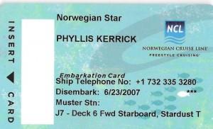 2007 06 16 NCL Star Alaska Room Key Phyllis