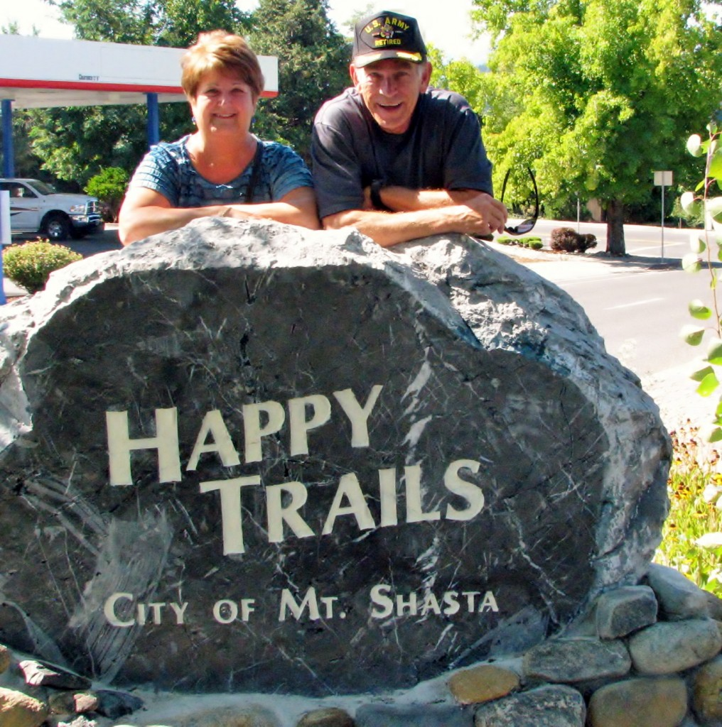 2013 09 14 Mt Shasta Welcome Sign Happy Trails Steve & Phyllis