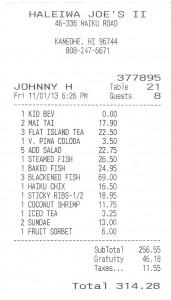 2013 11 01  Hawaii Kaneohe Haleiwa Joe's II Seafood Grill Bill