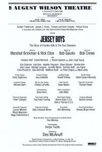 2007 02 16 New York City Jersey Boys Playbill Inside