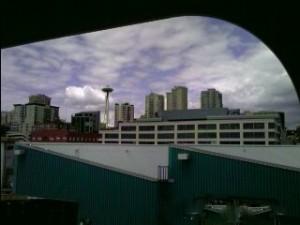 2007 06 16 NCL Star Alaska Seatle Skyline Dark Clouds