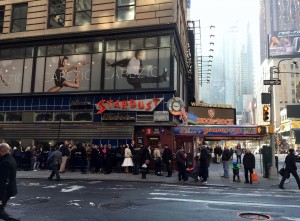 In Times Square, is also home to the future stars of stage and screen at Ellens Stardust Diner THE home of the singing waiters & some of the best Diner in the country since 1987. retro 1950s theme, videos on 1956 Predicta TVs & a drive-in theatre screen