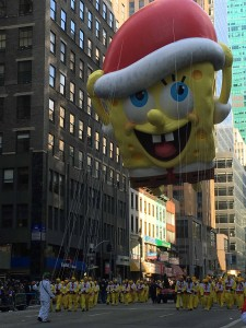 He's left his pineapple under the sea to bring a little holiday cheer to the Parade route! High as 4 story building, wide as 7 taxi cabs, wide as 7 bicycles, 90 handlers