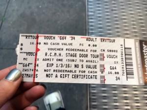 2015 11 26 New York Radio City Music Hall Stage Door Tour Ticket