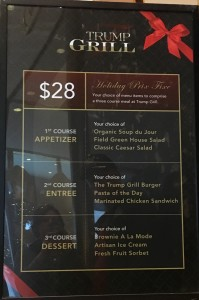 2015 12 11 New York Trump Tower Grill Menu
