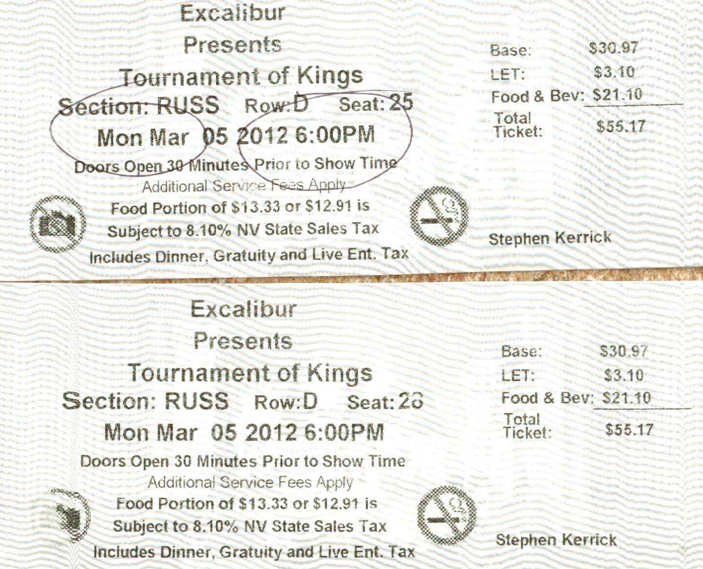Excalibur Tournament of Kings