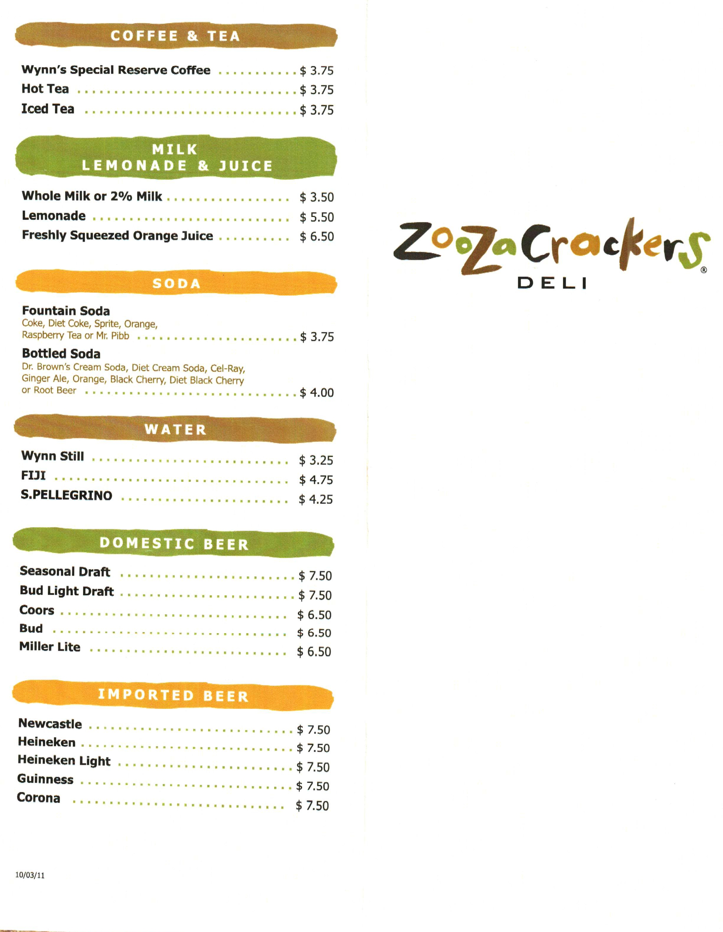 ZooZa Crackers Deli Menu